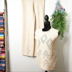Vintage 1970 crochet boho hippie 2piece ou…